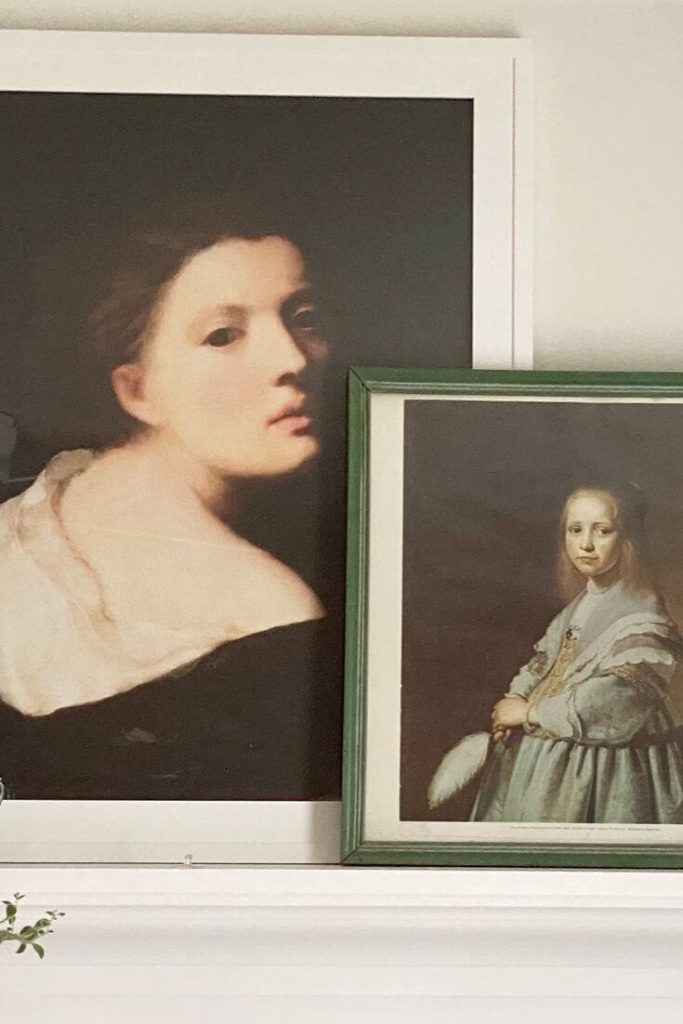 Two framed portraits of women