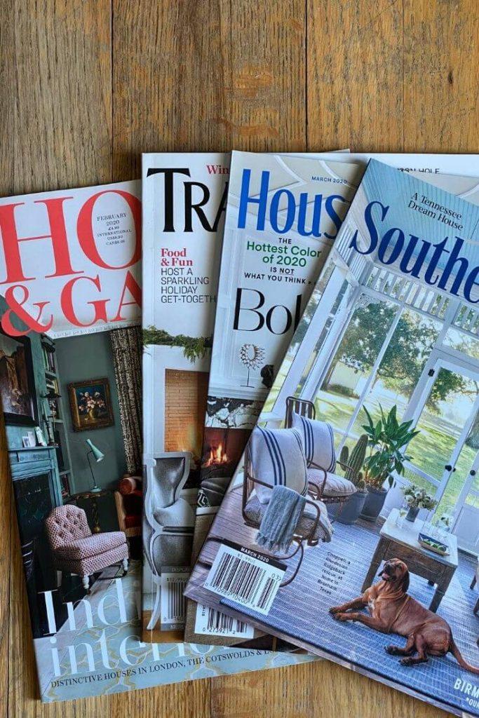 assortment of home decor magazines