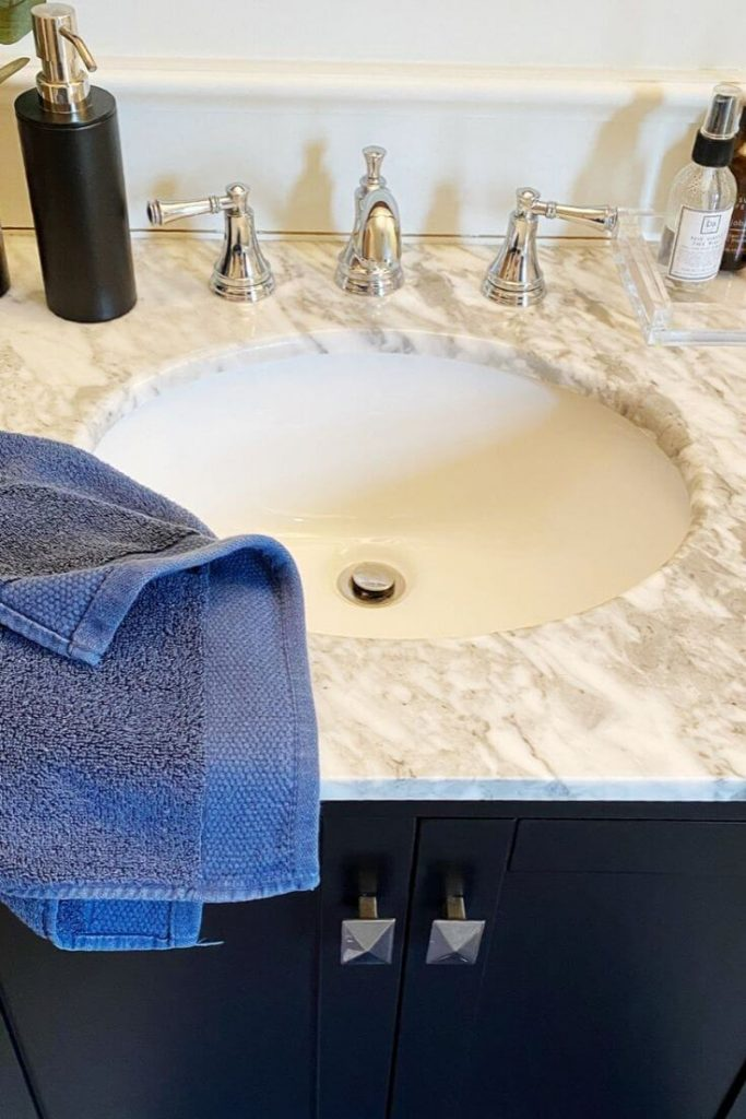 Carrara marble top on the Stela vanity from Wayfair