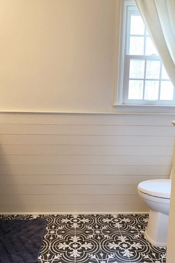 Wainscoting in the new bathroom made of tongue and groove pine boards