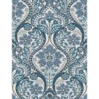 56.4 sq. ft. Night Bloom Blue Damask Wallpaper