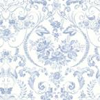 Canne Blue Floral Wallpaper
