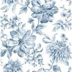 56.4 sq. ft. Gabriela Blue Floral Wallpaper