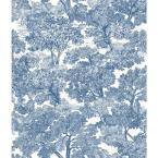 56.4 sq. ft. Spinney Blue Toile Wallpaper