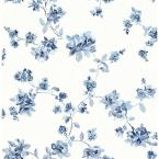 56.4 sq. ft. Cyrus Blue Floral Wallpaper