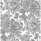 Black and White Sudbury Peel and Stick Wallpaper 30.75 sq. ft.