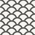 Mosaic Scallop Black & Cream Peel and Stick Wallpaper 56 sq. ft.