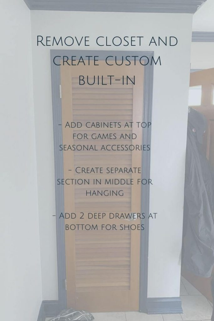 In our entryway we would like to remove the closet and create a custom built-in to better utilize the space we have