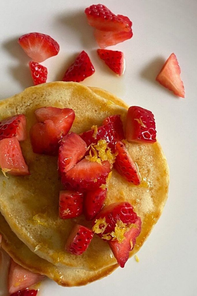Lemon pancakes with berries is one of our favorite go-to recipes while staying home durning quarantine