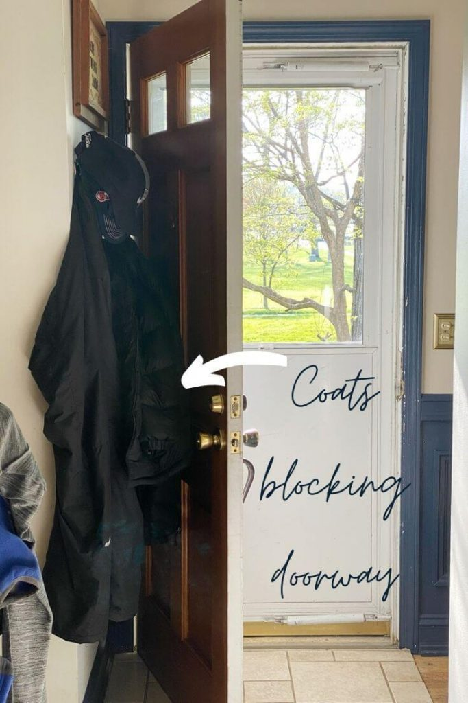 One of the issue with our current entryway are the coats hanging on the wall behind the door.