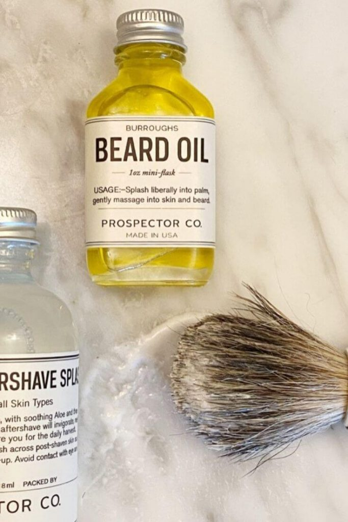Prospector Co beard oil, aftershave, and beard brush