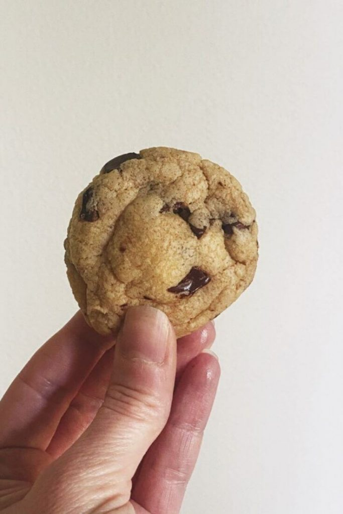 Hand holding up chocolate chip cookie in front of white wall
