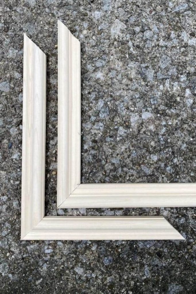 Comparison of the same pieces of moulding cut on 45 degree angle and pieced together like a picture frame