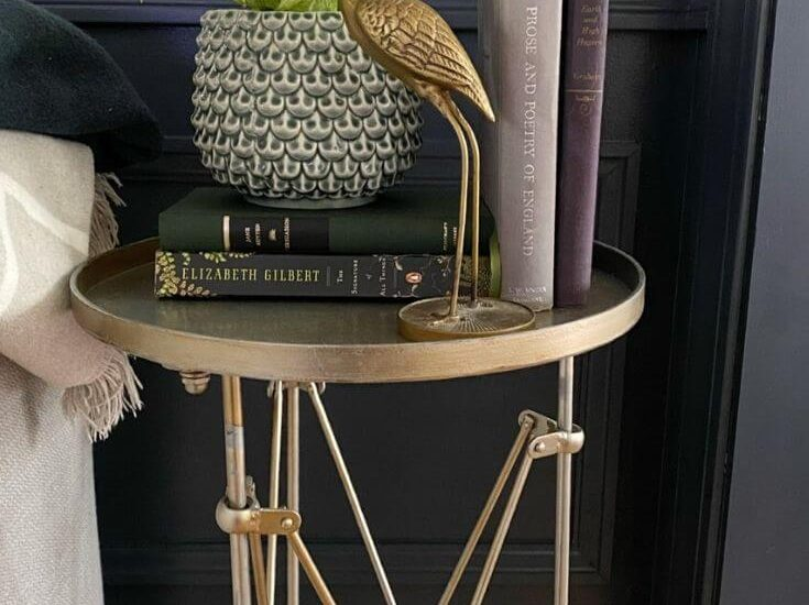 View of grass metal side table with a potted plant on a stack of books with a brass crane. Next to a sofa and inferno of a wall with navy wainscoting with chair rail and picture moulding