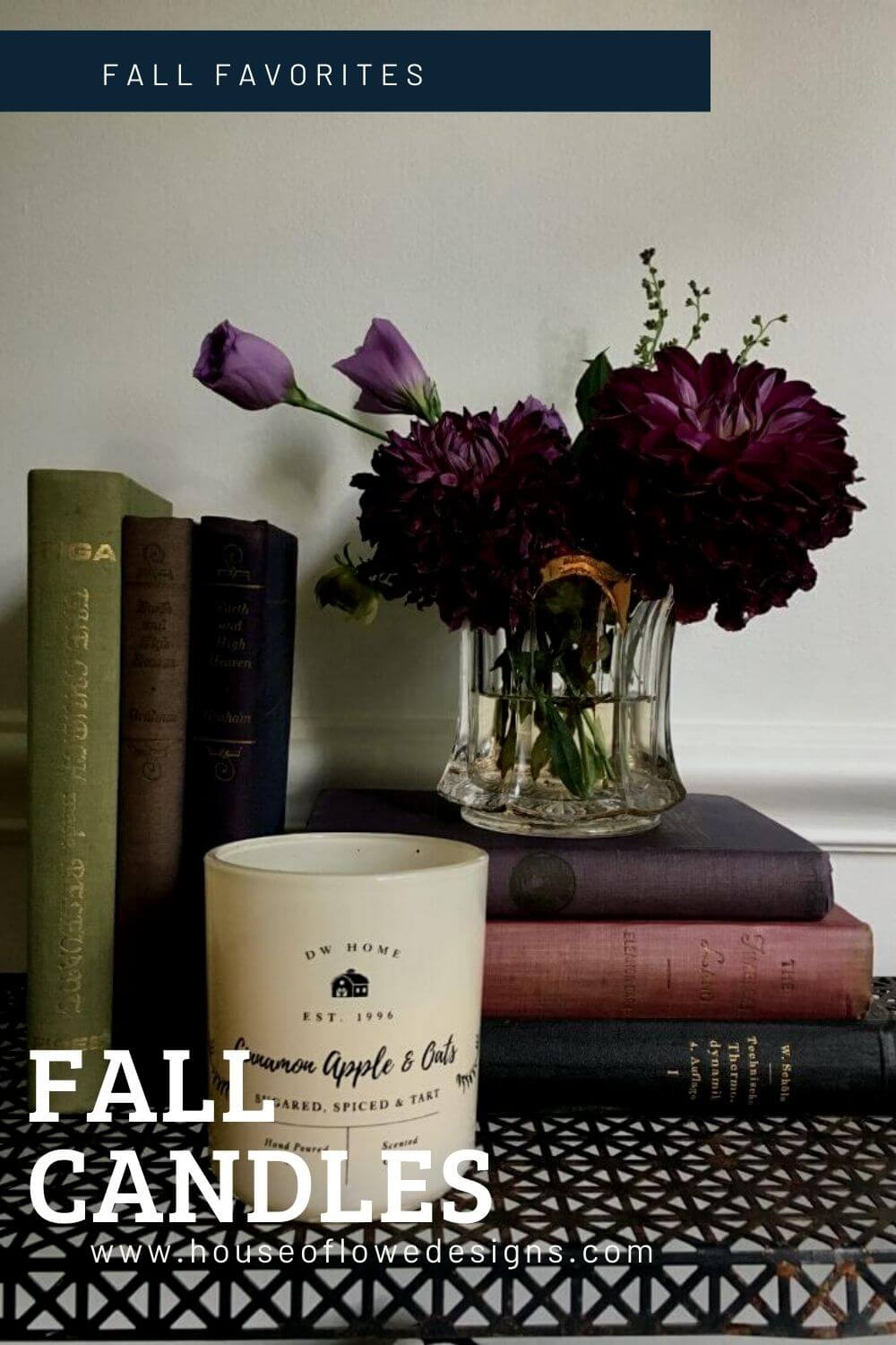 Fall Candle mixed with old books and moody florals