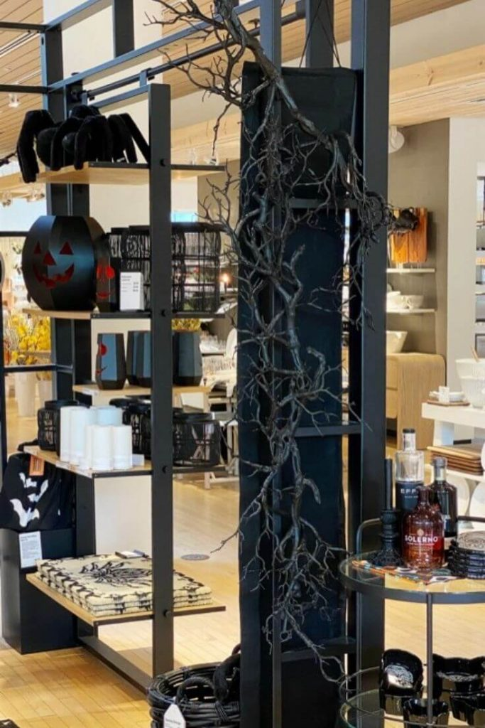 Black Branch Garland Displayed in Crate and Barrel