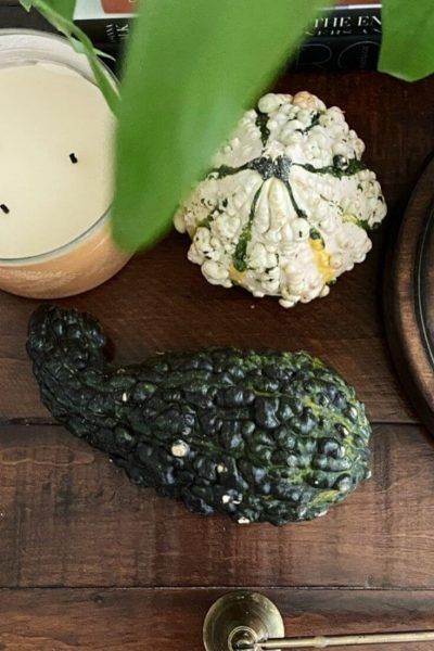 Looking down on a couple of fall gourds and a candle on a wooden table