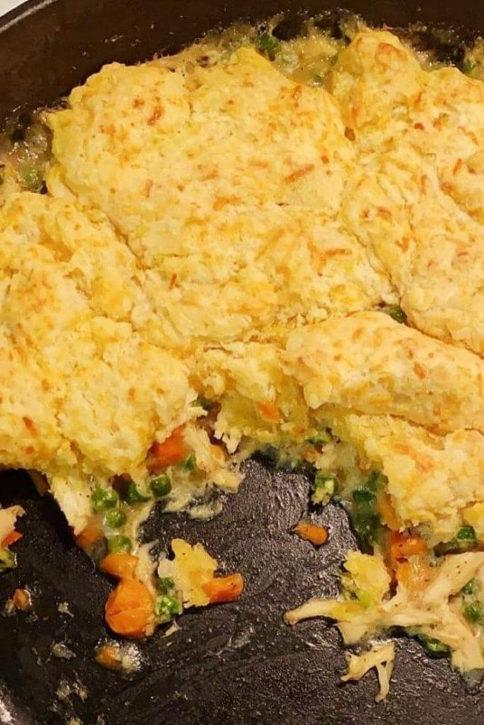 Chicken and dumplings in a skillet half eaten