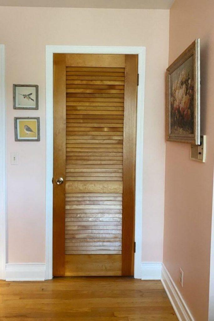 Louvered closet door in guest bedroom