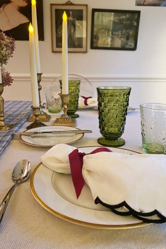 A dining room table set for Thanksgiving Day