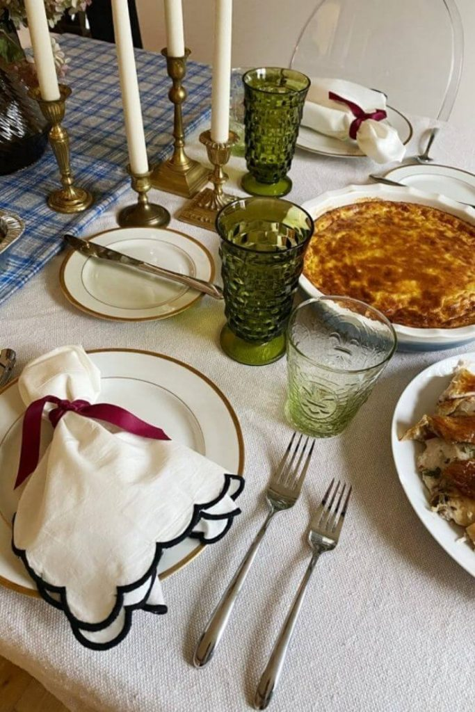 Table set for Thanksgiving with simple but elegant decor