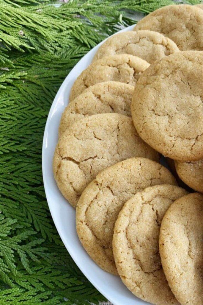 Brown sugar cookies on a white plate with fresh cedar greenery beneath