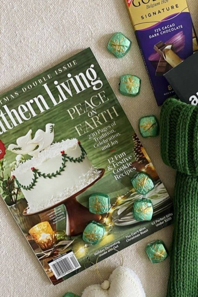 Southern living Christmas magazine surrounded by candy to add to a stocking