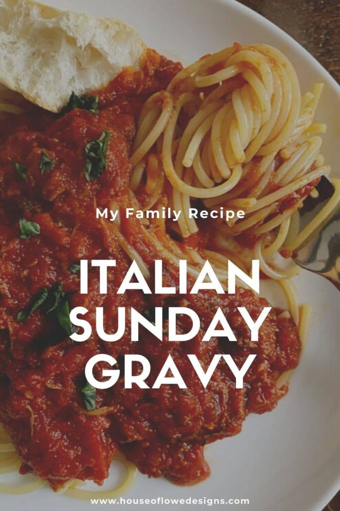 Sunday gravy with pork is a hearty sauce perfect for cold, winter days. Cooked all day, the meat falls off the bones adding tons of flavor.