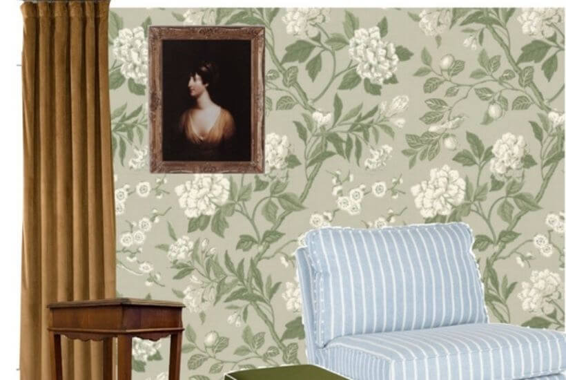Close up of wallpaper with art, curtains, and furniture pieces on a design mood board