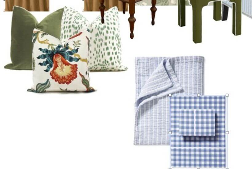 Close up of throw pillows and bedding on a design mood board for our guest bedroom