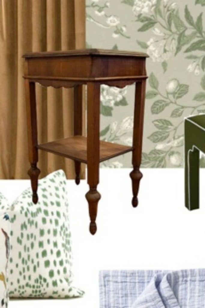 Close up of wooden nightstand on a guest bedroom design mood board
