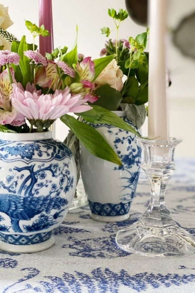 Use blue and white pottery as a vessel for fresh flowers in your home for easy spring time decor