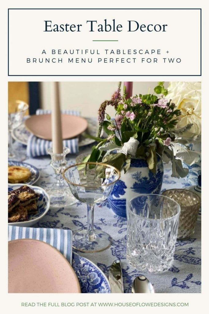 It's Easter weekend, friends and today on the blog I'm sharing my beautiful Easter table setting and a brunch menu perfect for two!