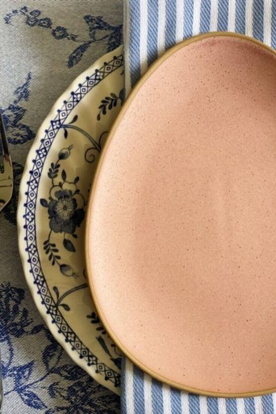 Close up of Easter table place setting
