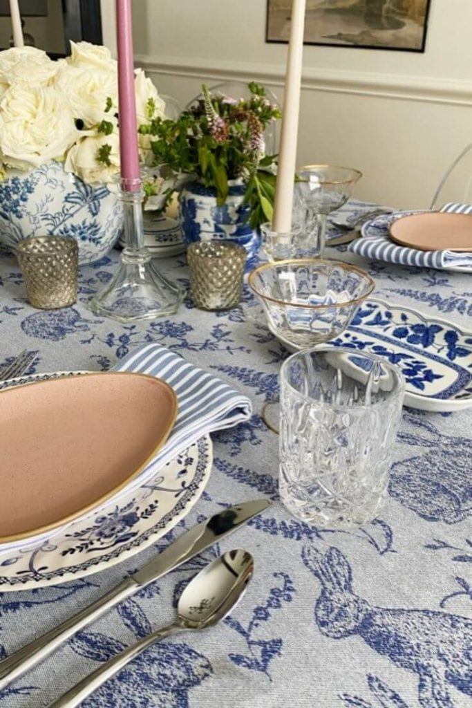 View of a blue and white table setting for Easter