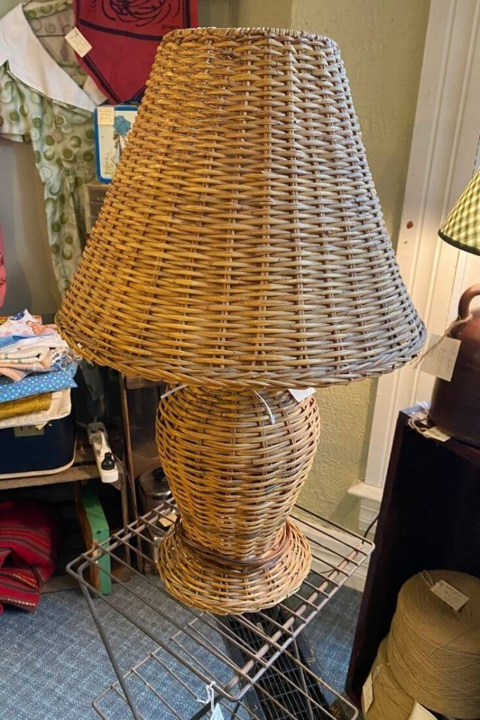 Wicker Lamp with Wicker Shade