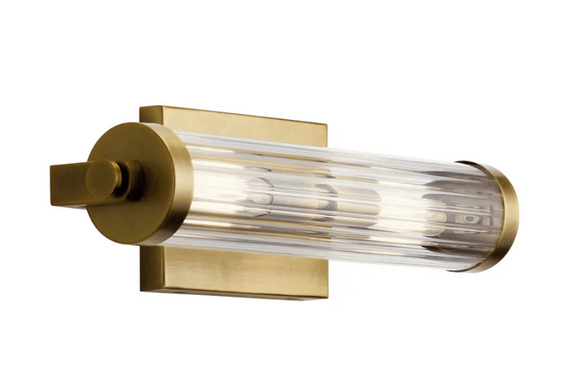 Clear Ribbed Glass and Brass Vanity Light