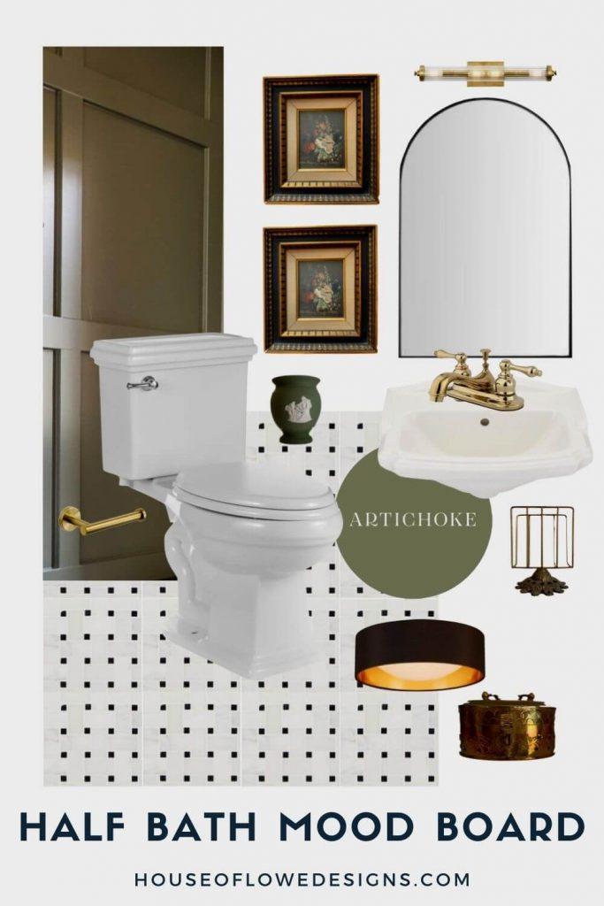 Mood Board and Design Inspiration for half bathroom
