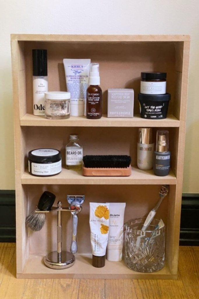 Medicine cabinet built out of MDF stocked with products