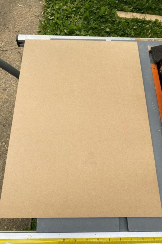 Rectangular piece of MDF board for back of medicine cabinet