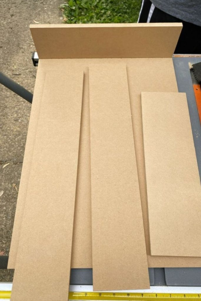 Various cut pieces of MDF board